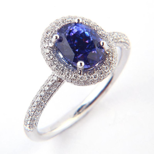 1.85ct Tanzanite & Diamond Halo Ring