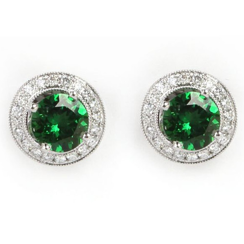 2.21ct tw Green Tsavorite Earrings w/ Diamond Enhancer