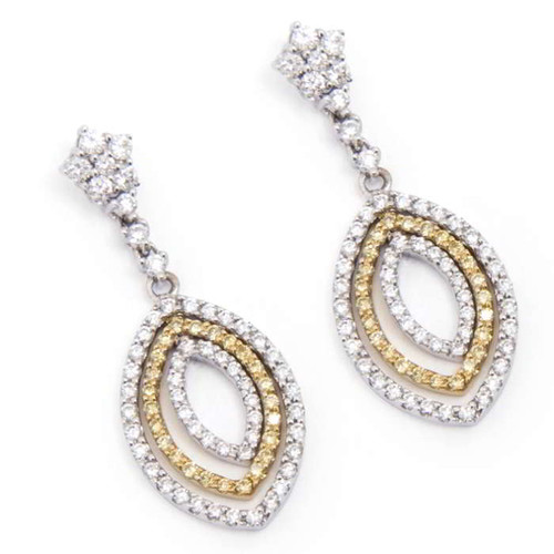 1.14ct tw Two Tone Diamond Drop Earrings