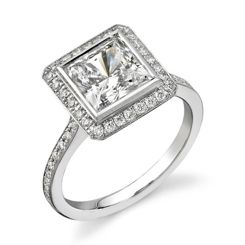 Halo Bezel Princess Cut Diamond Ring - CDS0002
