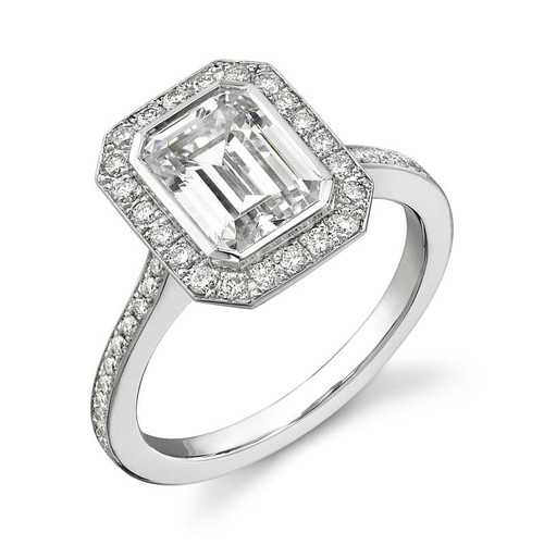 Halo Bezel Emerald Cut Diamond Ring - CDS0003