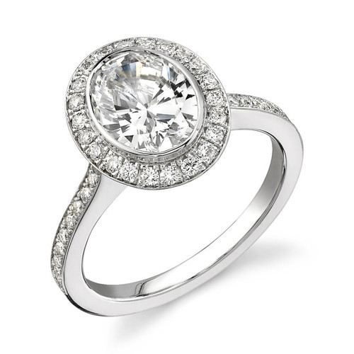 Halo Bezel Oval Cut Diamond Ring - CDS0004
