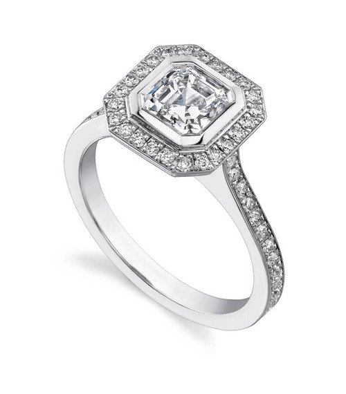 Halo Bezel Asscher Cut Diamond Ring - CDS0005