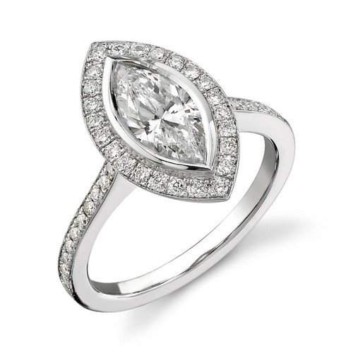 Halo Bezel Marquise Cut Diamond Ring - CDS0006