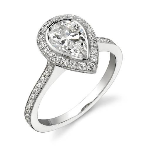 Halo Bezel Pear Shape Diamond Ring - CDS0008