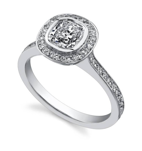 Halo Bezel Cushion Cut Diamond Ring - CDS0009