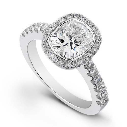 Halo Bezel Cushion Cut Diamond Ring - CDS0010