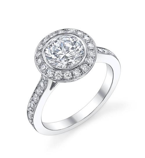 Halo Bezel Round Brilliant Diamond Ring - CDS0011