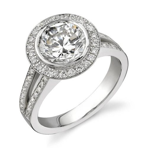 Halo Bezel Round Brilliant Diamond Ring - CDS0012