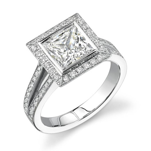 Halo Bezel Princess Cut Diamond Ring - CDS0013