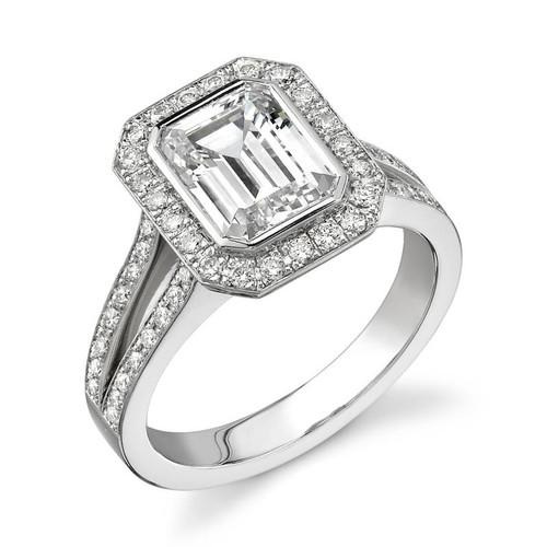 Halo Bezel Emerald Cut Diamond Ring - CDS0014