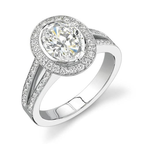 Halo Bezel Oval Cut Diamond Ring - CDS0015