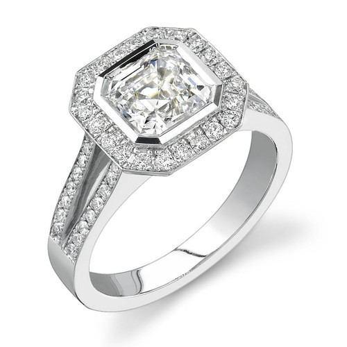 Halo Bezel Asscher Cut Diamond Ring - CDS0016