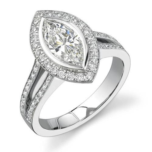 Halo Bezel Marquise Cut Diamond Ring - CDS0017