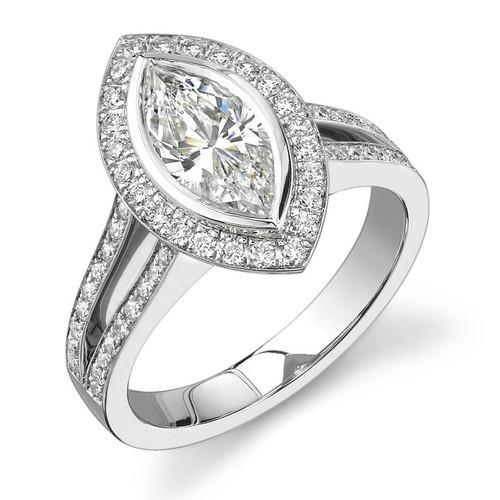 Halo Bezel Marquise Cut Diamond Ring - CDS0017