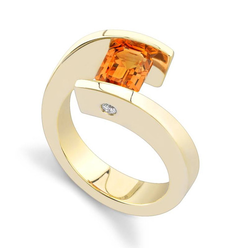 Tension Set Emerald Cut Colored Stone Ring - CDS0018