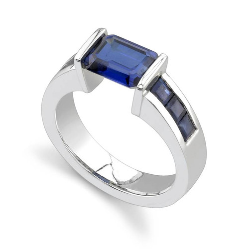 Tension Set Emerald Cut Colored Stone Ring - CDS0021