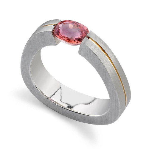 Tension Set Oval Cut Colored Stone Ring - CDS0022