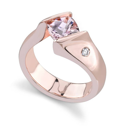 Tension Set Cushion Cut Colored Stone Ring - CDS0023