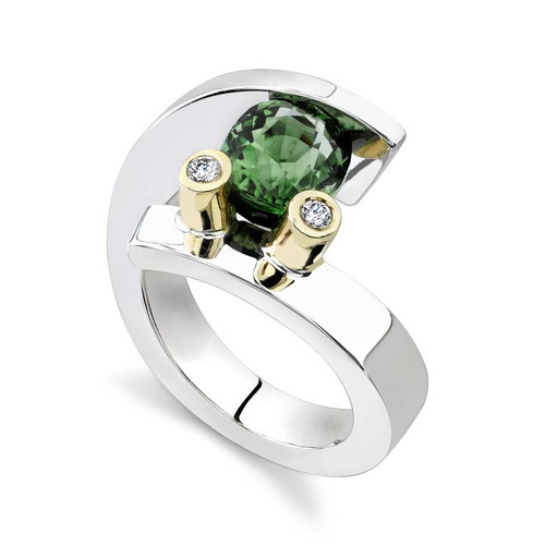 Tension Set Oval Cut Colored Stone Ring - CDS0024