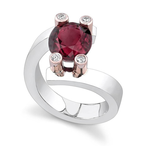 Tension Set Oval Cut Colored Stone Ring - CDS0027