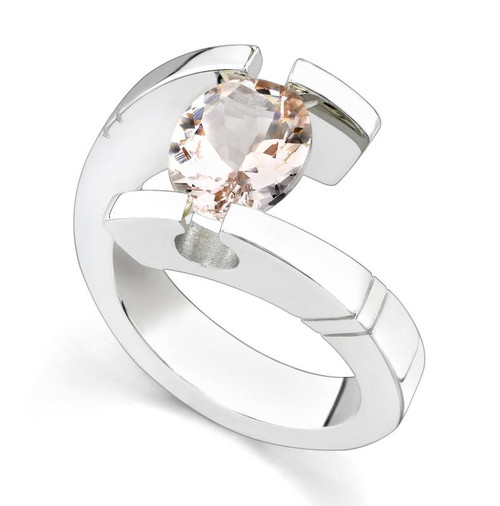 Tension Set Oval Cut Colored Stone Ring - CDS0028