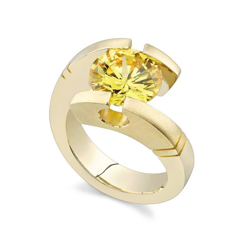 Tension Set Round Brilliant Colored Stone Ring - CDS0029