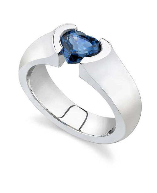 Tension Set Heart Shape Colored Stone Ring - CDS0031