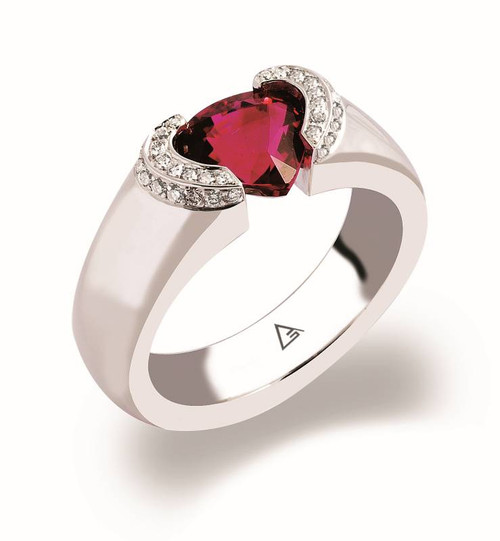Tension Set Heart Shape Colored Stone Ring - CDS0032