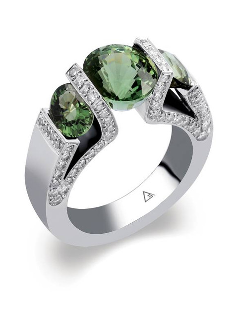 Tension Set Round Brilliant Colored Stone Ring - CDS0034