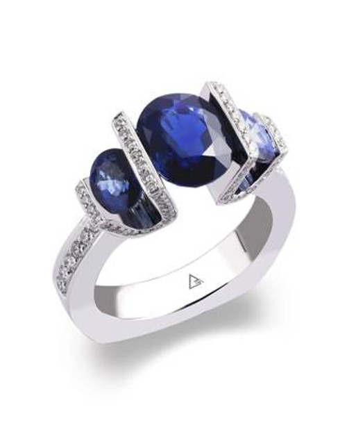 Tension Set Round Brilliant Colored Stone Ring - CDS0035