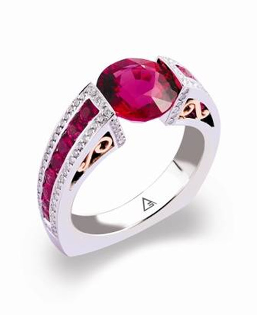 Tension Set Round Brilliant Colored Stone Ring - CDS0037