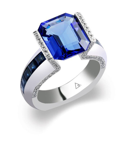 Tension Set Emerald Cut Colored Stone Ring - CDS0038