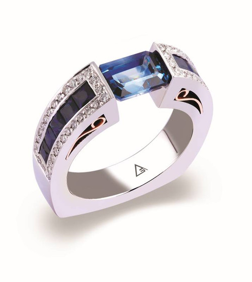 Tension Set Emerald Cut Colored Stone Ring - CDS0040