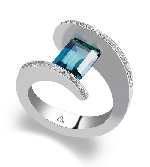 Tension Set Emerald Cut Colored Stone Ring - CDS0041