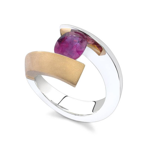Tension Set Oval Cut Colored Stone Ring - CDS0043