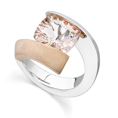 Tension Set Cushion Cut Colored Stone Ring - CDS0044