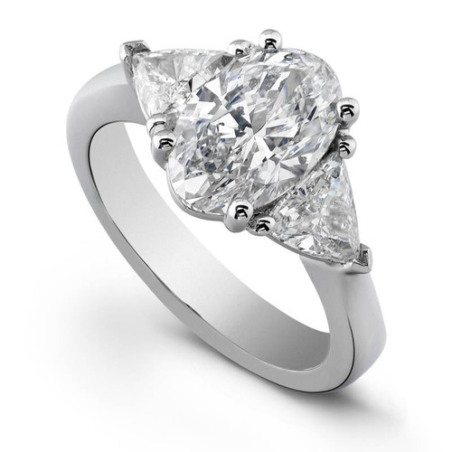 Handmade 3-Stone Oval Cut Diamond Ring - CDS0084