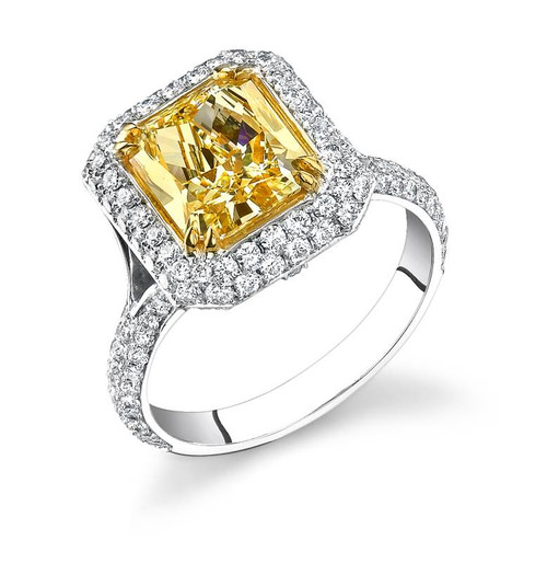 Royal Cup Radiant Cut Colored Stone Ring - CDS0111