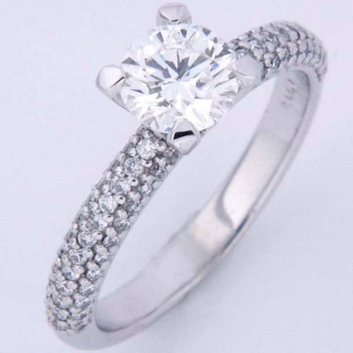Antique Style Engagement Ring with Tri-Row Shank - CDG0152