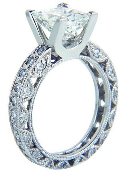 Designer Eternity Shank Antique Engagement Ring - CDG0154