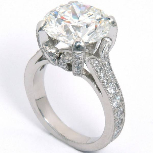 Cathedral Crown Antique Style Engagement Ring - CDG0158