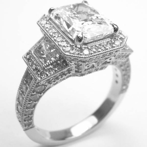 Tri-Halo Three Stone Antique Ring - CDG0159