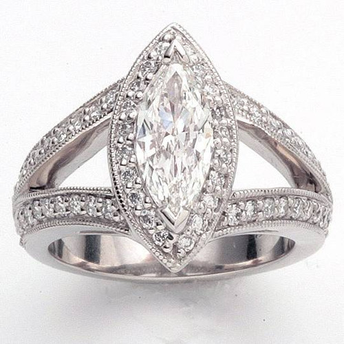 Split Shank Antique Style Halo Ring - CDG0160