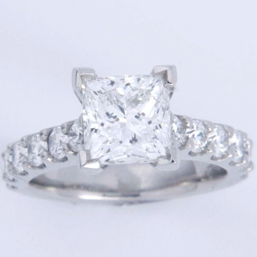 Classic Crown Engagmeent Ring with Scalloped Pave Shank - CDG0163