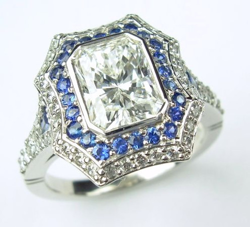 Dual Halo Diamond & Sapphire Engagement Ring - CDG0164
