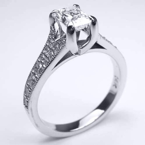 Cathedral Style Crown Engagement Ring with Split Shank - CDG0165