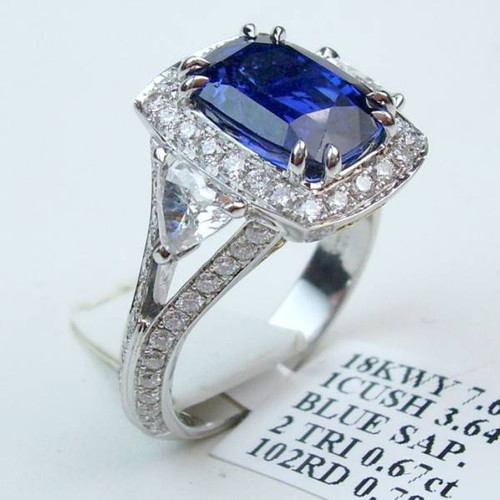Antique Three Stone Halo Sapphire & Diamond Ring - CDG0166