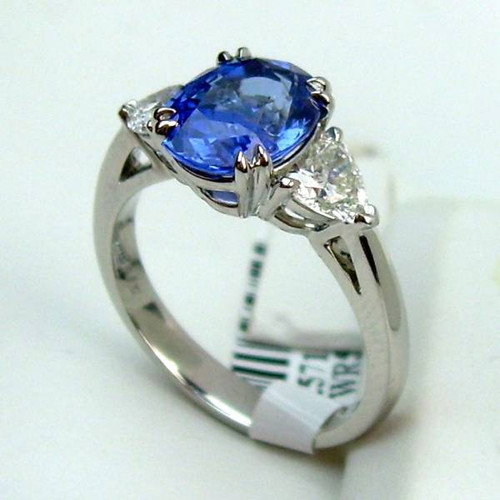 Three Stone Diamond & Sapphire Ring - CDG0167