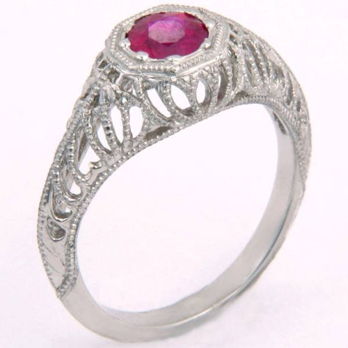Antique Style Ruby Promise Ring - CDG0172